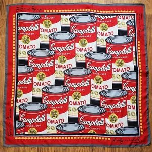 RARE Andy Warhol Campbell's Soup Silk Scarf